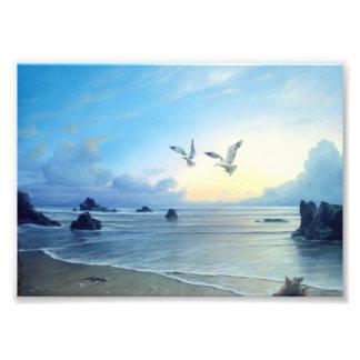 Impresión del tema de la playa de las mareas de la impresion fotografica