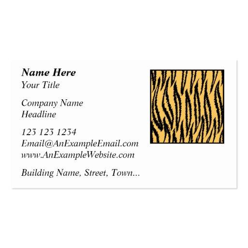 Impresión del tigre. Modelo anaranjado y negro Tarjetas De Visita
