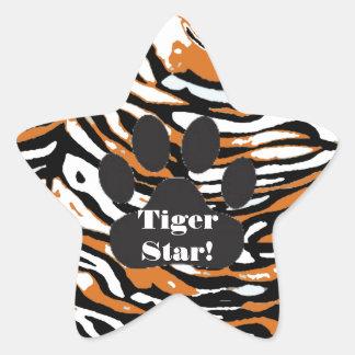 Impresión del tigre y estudiante de la pegatina en forma de estrella