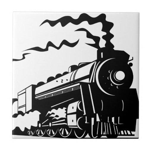 Impresión del tren azulejos