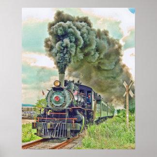 Impresión del tren de pasajeros del vapor posters