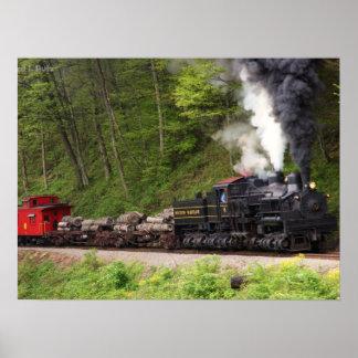 Impresión del tren del humo y del vapor poster
