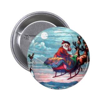 Impresión del trineo de Santa del vintage Pin Redondo De 2 Pulgadas