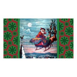 Impresión del trineo de Santa del vintage Tarjetas De Visita