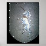 Impresión del unicornio del escudo del metal impresiones
