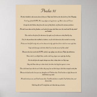 Impresión del verso de la biblia, salmo 91 póster