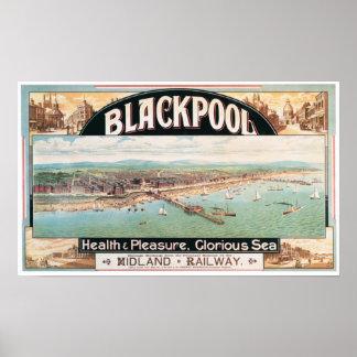 Impresión del viaje de Blackpool y del poster del