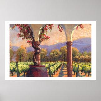 Impresión del viñedo del vino poster