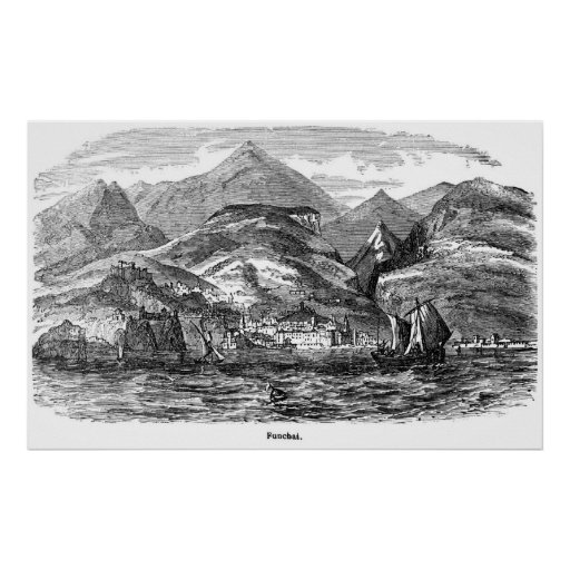 Impresión del vintage de Funchal, Madeira Póster