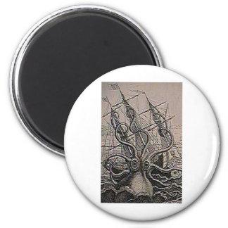 Impresión del vintage de KRAKEN Imán Redondo 5 Cm