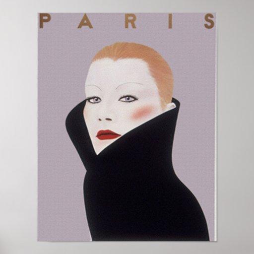 Impresión del vintage de la moda de París Francia