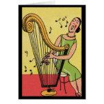 Impresión del vintage de la mujer que toca la arpa felicitacion