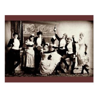 Impresión del vintage de las chicas marchosas tarjeta postal