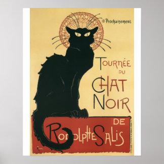 Impresión del vintage del gato negro de Tournee Du Poster