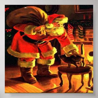 Impresión del vintage del navidad de Papá Noel Póster