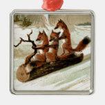 Impresión del vintage del paseo del trineo del Fox Ornato
