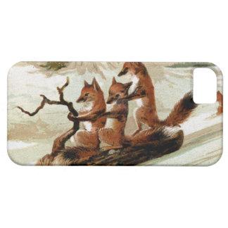 Impresión del vintage del paseo del trineo del Fox iPhone 5 Case-Mate Cárcasas