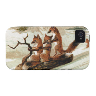 Impresión del vintage del paseo del trineo del Fox Case-Mate iPhone 4 Carcasa