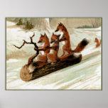 Impresión del vintage del paseo del trineo del Fox Póster