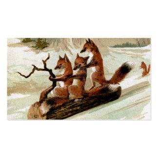 Impresión del vintage del paseo del trineo del Fox Tarjeta De Visita