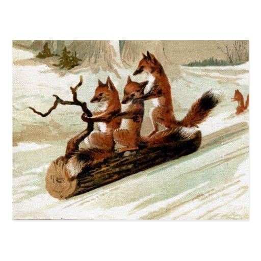 Impresión del vintage del paseo del trineo del Fox Postal