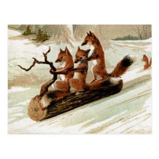 Impresión del vintage del paseo del trineo del Fox Tarjetas Postales