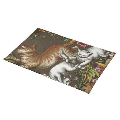 Impresión del vintage: Gatitos que juegan en el ja Manteles Individuales