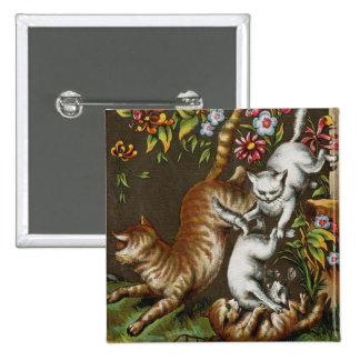 Impresión del vintage: Gatitos que juegan en el ja Pin