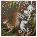 Impresión del vintage: Gatitos que juegan en el ja Servilleta Imprimida