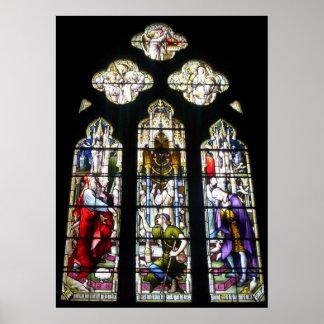 Impresión del vitral #2 de la abadía de Tewkesbury Poster