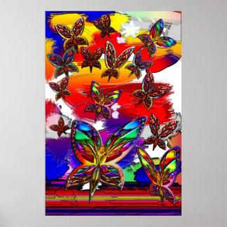 Impresión del vuelo de la mujer de la mariposa poster