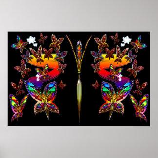 Impresión del vuelo de la mujer de la mariposa posters