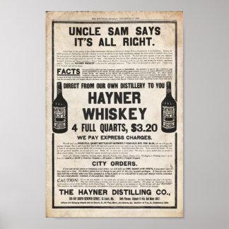 Impresión del whisky de Hayner del vintage Poster