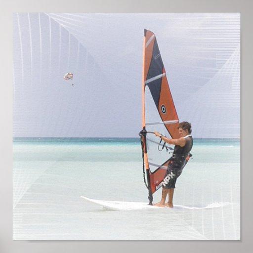 Impresión del Windsurfer del principiante Poster