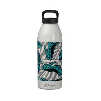 Impresión del zapato del tacón alto del guepardo d botella de agua reutilizable
