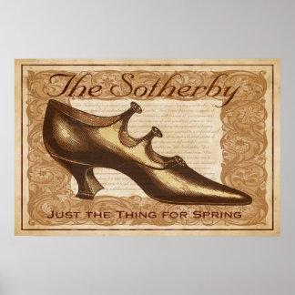 Impresión del zapato del vintage de Sotherby Póster