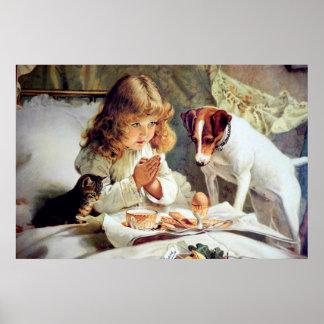 Impresión: Desayuno en cama: Chica, fox terrier y  Posters