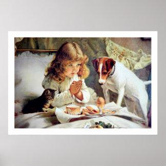 Impresión Desayuno en cama Chica Terrier y gato Poster