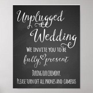 Impresión desenchufada pizarra del boda póster