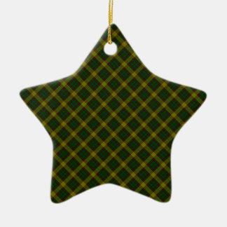 Impresión diseñada escocés del tartán del clan de adorno navideño de cerámica en forma de estrella