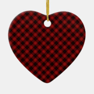 Impresión diseñada tartán del clan de Munro Adorno Navideño De Cerámica En Forma De Corazón