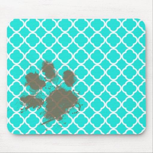 Impresión divertida de la pata en el color Quatref Tapetes De Raton