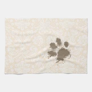 Impresión divertida de la pata en el damasco blanc toalla de cocina