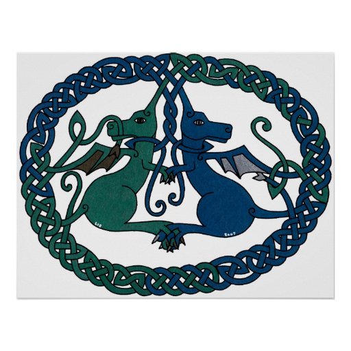 Impresión doble del escudo del dragón