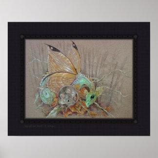 Impresión - dragón de la mariposa y el ratón póster