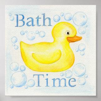 Impresión Ducky de goma del arte del cuarto de bañ Póster