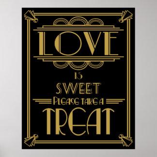 Impresión dulce de la tabla del estilo de Gatsby Póster