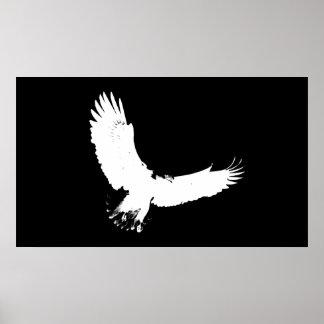 Impresión Eagle calvo del poster de la silueta de