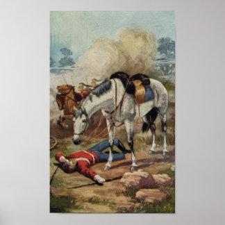 Impresión ecuestre caida caballo del soldado del v póster