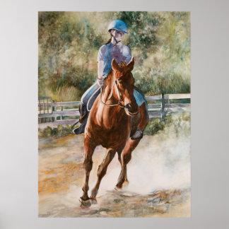 Impresión ecuestre de la lona de la equitación posters